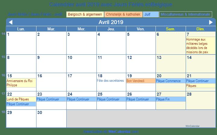Calendrier Paques 2019.Calendrier Avril 2019 Avec Jours Feries Belgique
