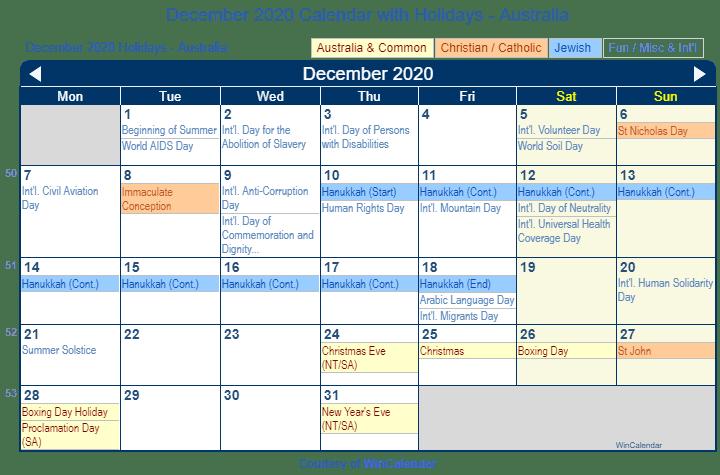 Acts Of Kindness Calendar December 2020 December 2020 Calendar with Holidays   Australia