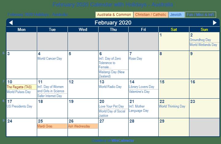 Presidents Day 2020 Calendar.February 2020 Calendar With Holidays Australia