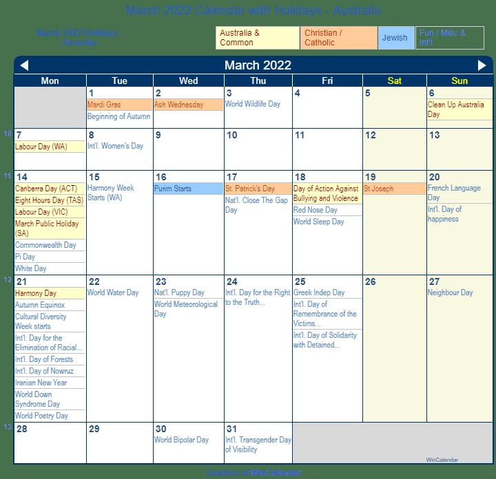 March 2022 Holiday Calendar.March 2022 Calendar With Holidays Australia