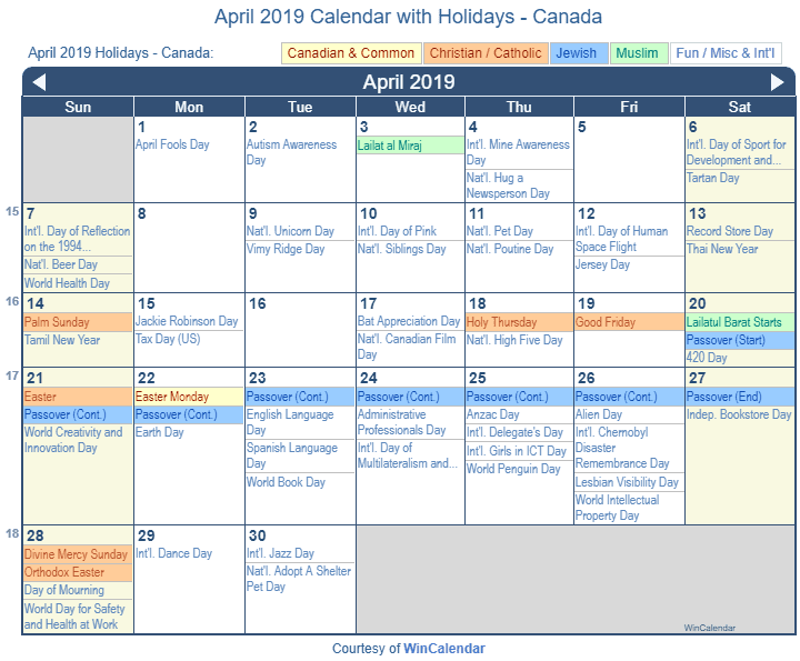 April 2019 Calendar With Holidays Canada