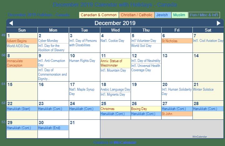 Hanukkah 2019 Calendar December 2019 Calendar with Holidays   Canada