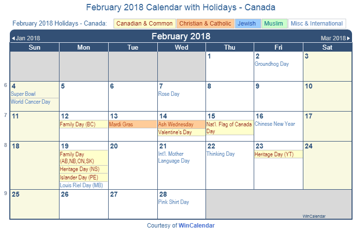 february 2018 calendar with holidays canada