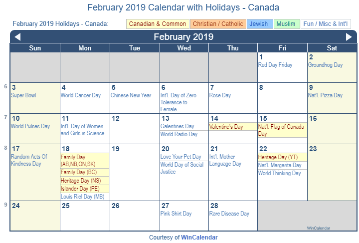 february 2019 calendar with holidays canada