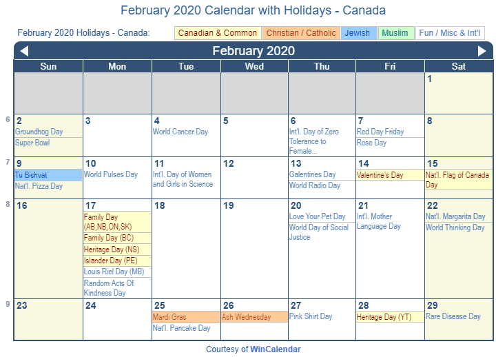 February 2020 Calendar National Health February 2020 Calendar with Holidays   Canada