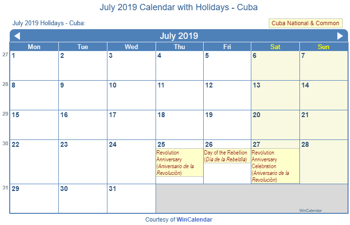 July 2019 Calendar With Holidays Cuba