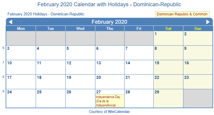 February 2020 Calendar In La February 2020 Calendar with Holidays   Dominican Republic