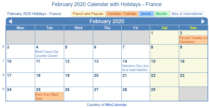 La Calendar February 2020 February 2020 Calendar with Holidays   France