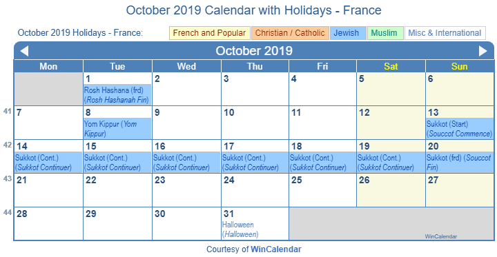 October 2019 Calendar With Holidays France