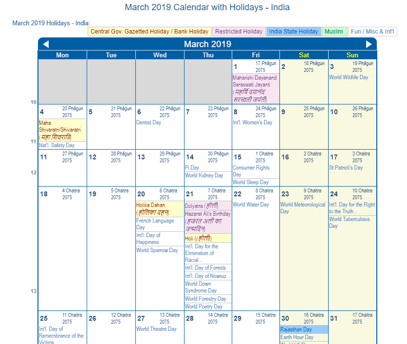 March 2019 Calendar with Holidays - India