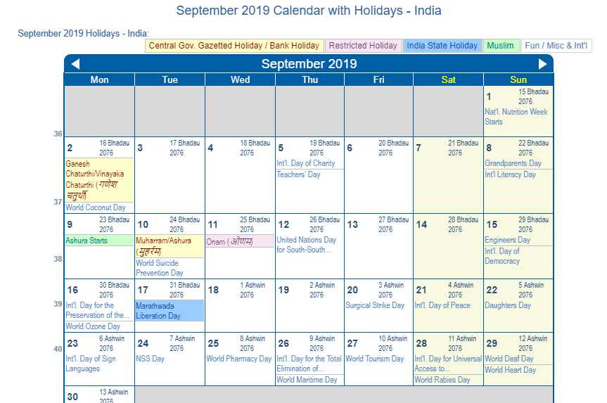 September 2019 Calendar with Holidays - India