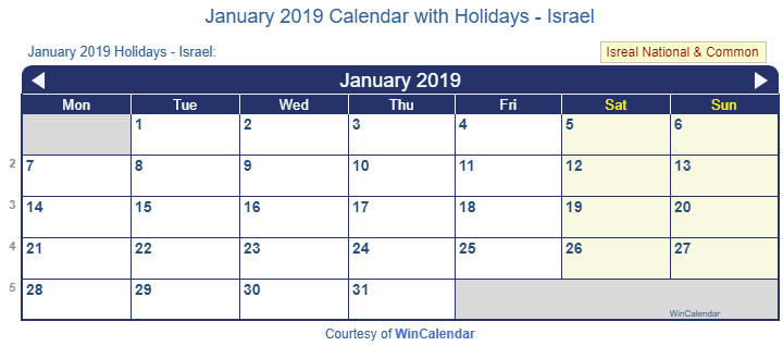 January 2019 Calendar with Holidays - Israel