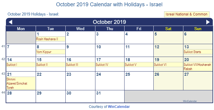 Sukkot 2019 Calendar October 2019 Calendar with Holidays   Israel