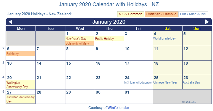 Catholic Calendar January 2020 January 2020 Calendar with Holidays   New Zealand