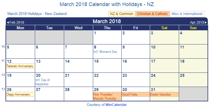 march 2018 calendar with holidays new zealand