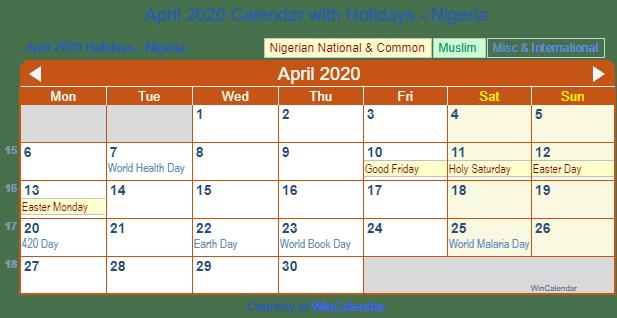 Easter 2020 Calendar.April 2020 Calendar With Holidays Nigeria