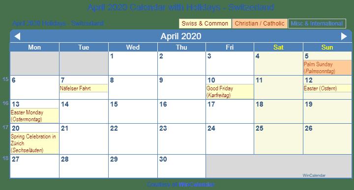 April 2020 Calendar With Holidays Switzerland