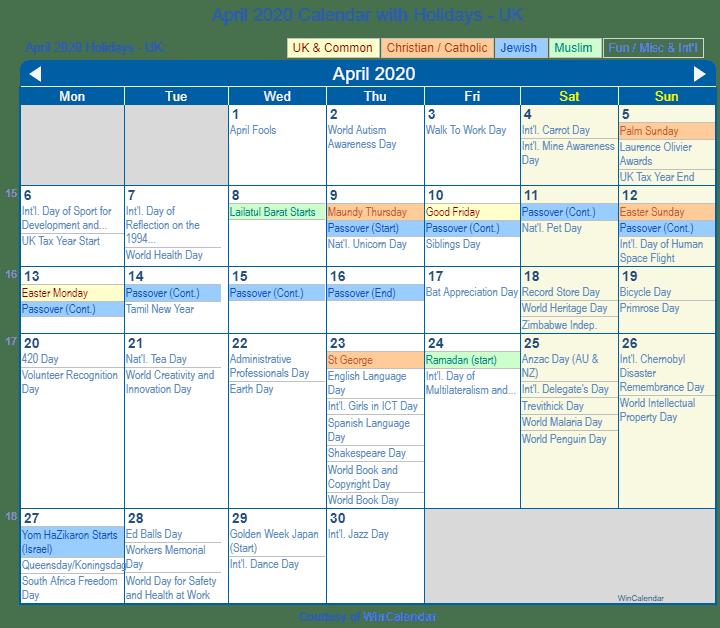 Passover 2020 Calendar.April 2020 Calendar With Holidays United Kingdom