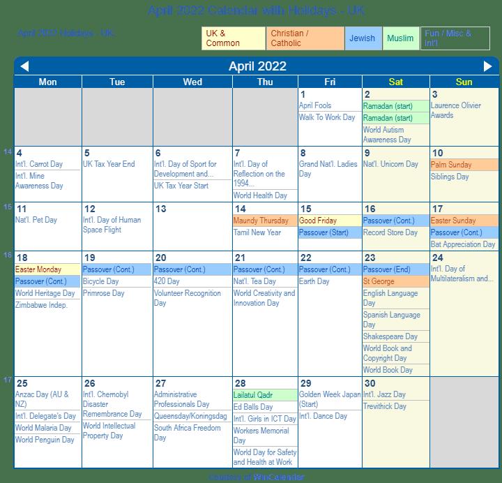 April Calendar 2022 With Holidays.April 2022 Calendar With Holidays United Kingdom