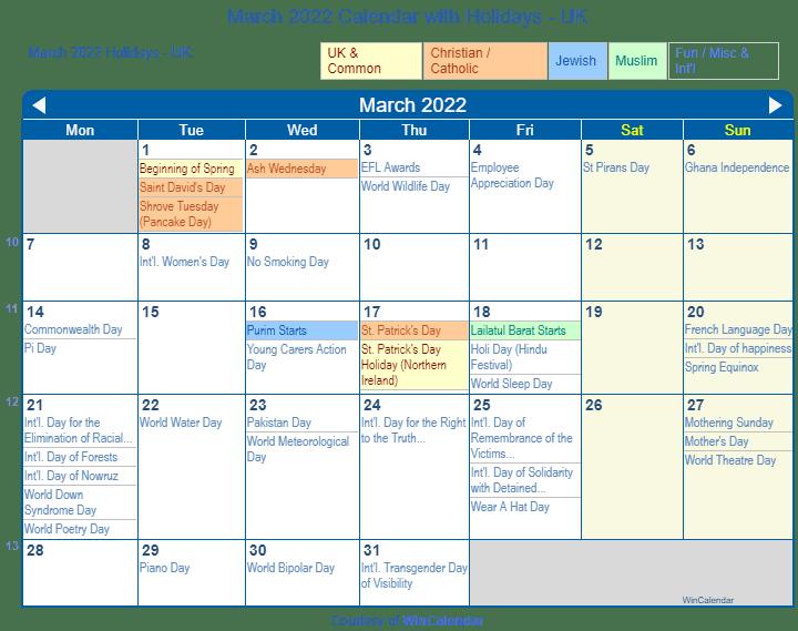 Womens March 2022 Calendar.March 2022 Calendar With Holidays United Kingdom