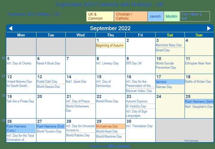 Sept 2022 Calendar.September 2022 Calendar With Holidays United Kingdom
