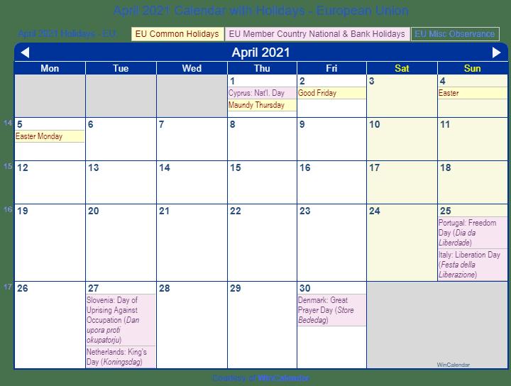 Good Friday 2021 Calendar April 2021 Calendar with Holidays   European Union and member