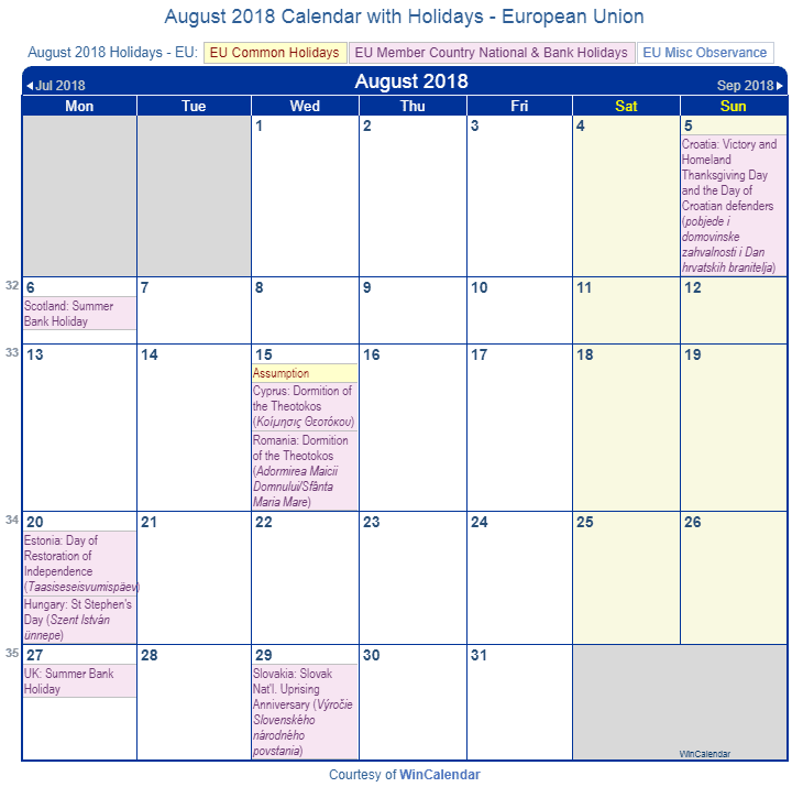 august 2018 calendar with holidays european union and member countries