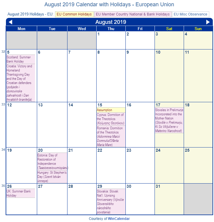 Calendar Holidays.Holiday Calendar Eu With Observances Today