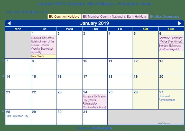 Calendar Of Holidays.January 2019 Calendar With Holidays European Union And Member