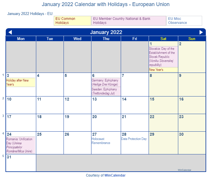 January 2022 Calendar With Holidays.January 2022 Calendar With Holidays European Union And Member Countries
