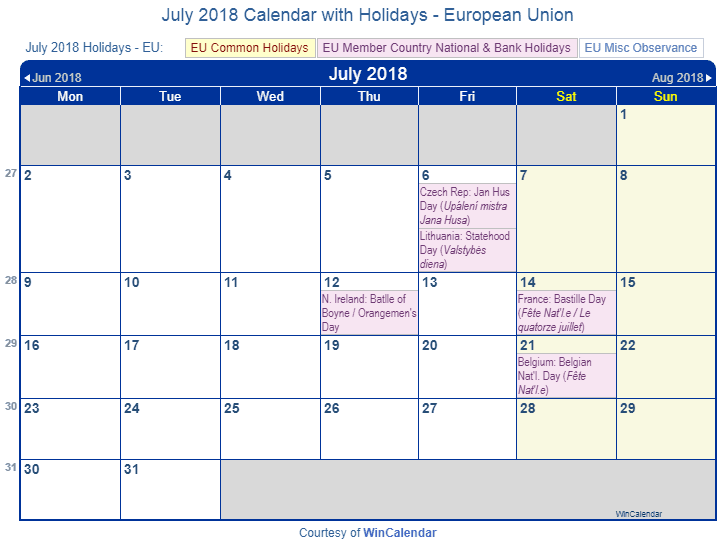 july 2018 calendar with holidays european union and member countries