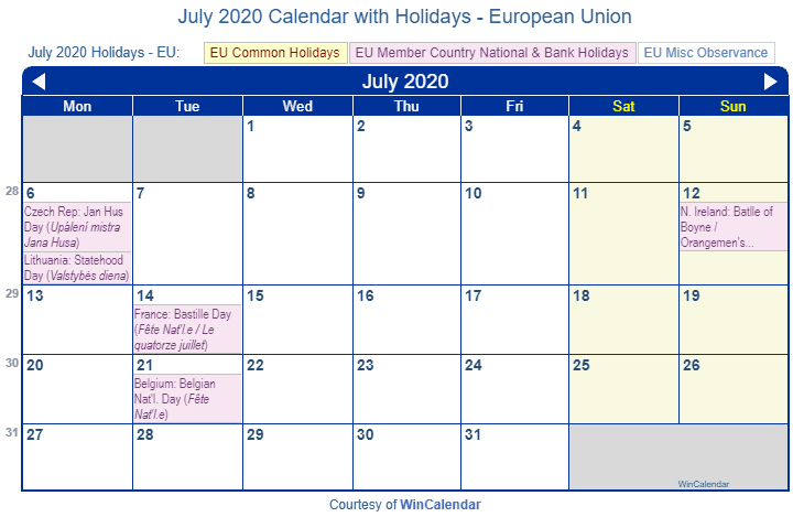 July 2020 Calendar With Holidays July 2020 Calendar with Holidays   European Union and member countries