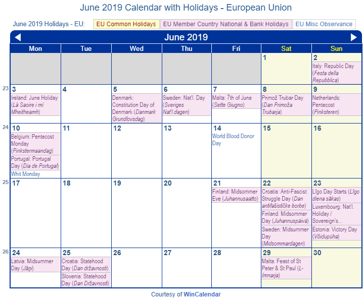 June 2019 Calendar with Holidays - European Union and member