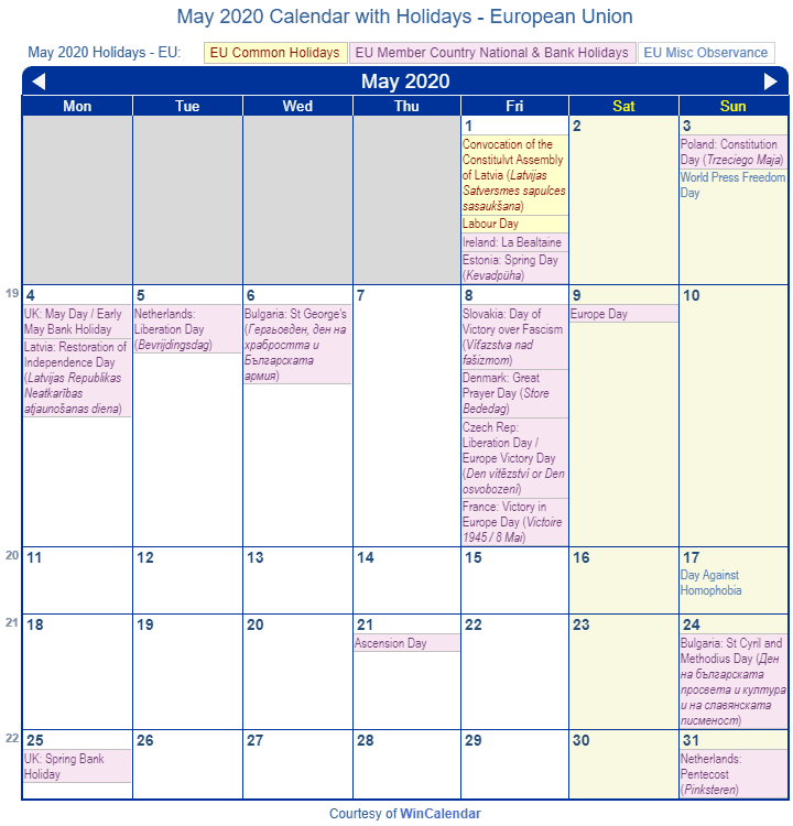 May 2020 Calendar With Holidays Uk.May 2020 Calendar With Holidays European Union And Member Countries