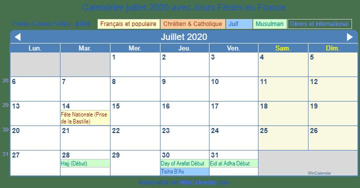 Calendrier Juillet2020.Calendrier Juillet 2020 Avec Jours Feries France