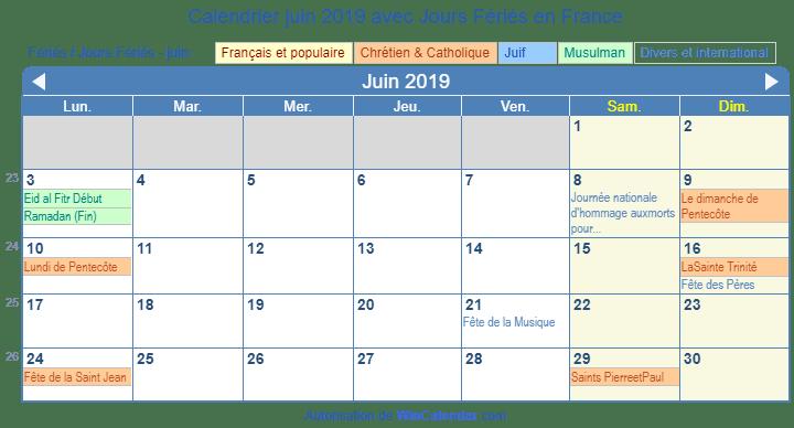 Calendrier Feries 2019.Calendrier Juin 2019 Avec Jours Feries France