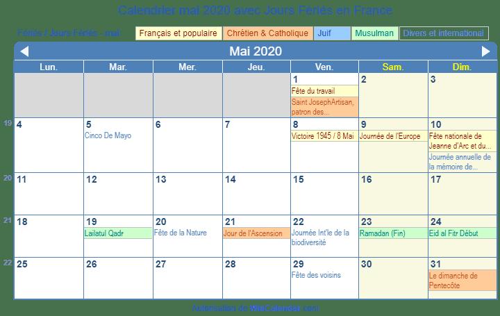 Calendrier Scolaire Mai 2020.Calendrier Mai 2020 Avec Jours Feries France