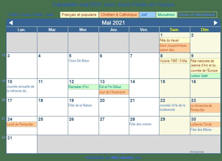 Calendrier Mai 2021 avec Jours Fériés   France