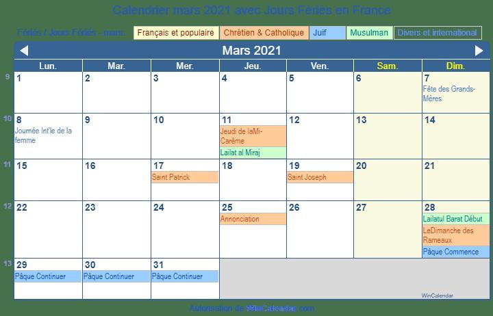 Calendrier Mars 2021 avec Jours Fériés   France