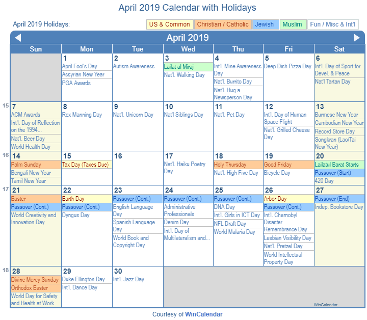 April 2019 Calendar With Holidays United States