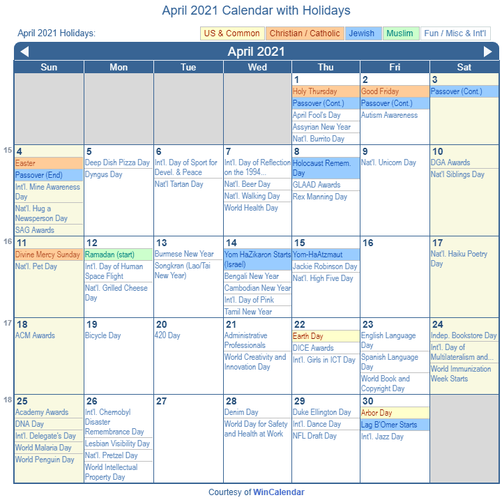 April 2021 Calendar With Holidays April 2021 Calendar with Holidays   United States