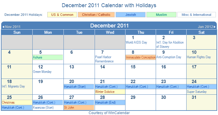 December 2011 Printable Calendar with US, Christian, Jewish, Muslim & Holidays