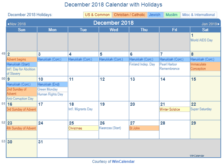 december 2018 calendar with holidays united states
