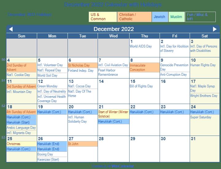 Calendar For December 2022.December 2022 Calendar With Holidays United States