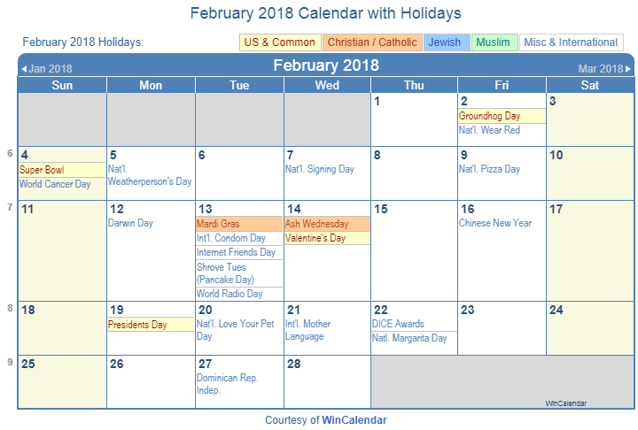 february 2018 calendar with holidays united states