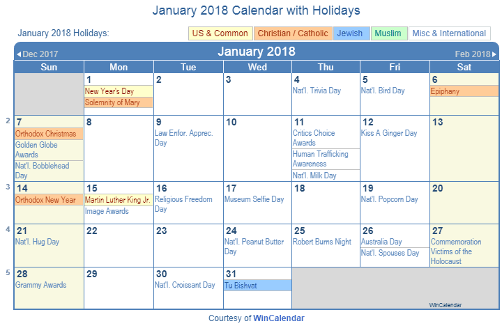 january 2018 calendar with holidays united states