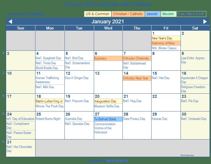 January 2021 Calendar With Holidays Usa January 2021 Calendar with Holidays   United States
