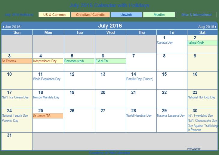 Print Friendly July 2016 US Calendar for printing
