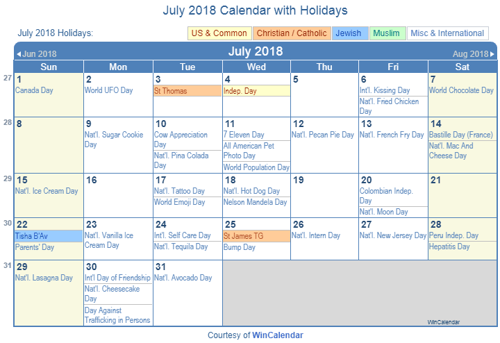 july 2018 calendar with holidays united states