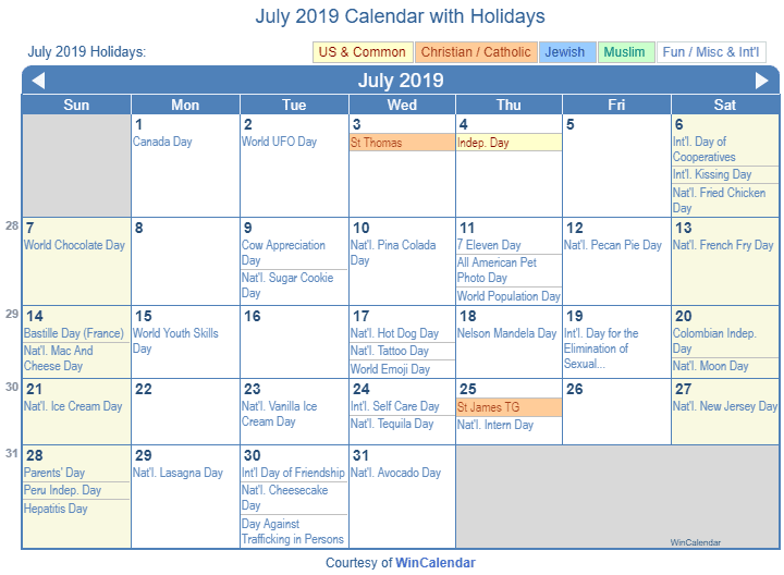 July 2019 Calendar with Holidays - United States